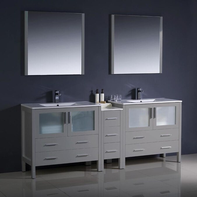 Fresca Bari 84 In Gray Double Sink Bathroom Vanity With White Ceramic Top Mirror And Faucet Included In The Bathroom Vanities With Tops Department At Lowes Com