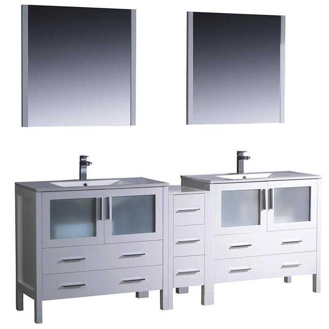Fresca Torino 84 In White Double Sink Bathroom Vanity With White Ceramic Top Mirror And Faucet Included In The Bathroom Vanities With Tops Department At Lowes Com