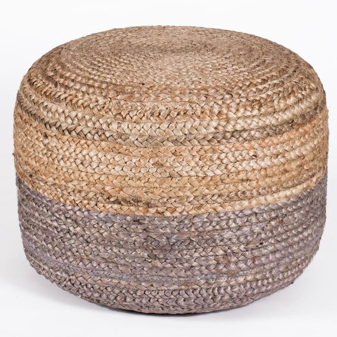 Madeleine Home Indoor Pouf Modern Gray And Natural Jute Round Ottoman In The Indoor Ottomans Department At Lowes Com