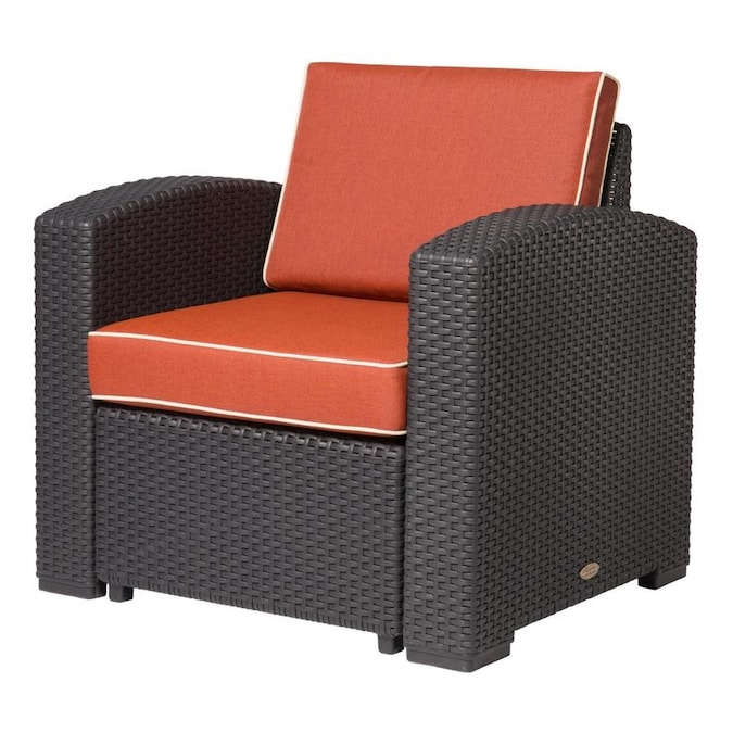 Lagoon Magnolia Rattan Black Plastic Frame Stationary Conversation Chair S With Cushioned Seat In The Patio Chairs Department At Lowes Com