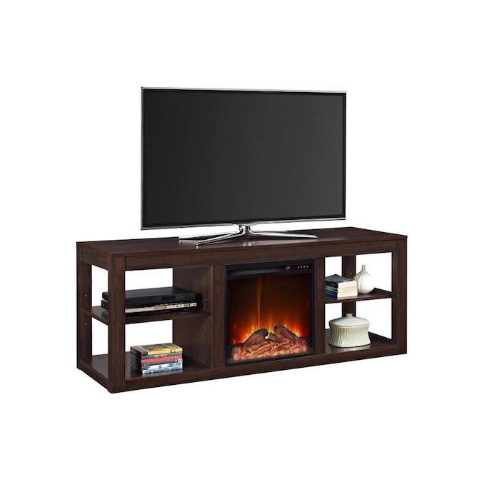 Ameriwood Home 59 In W Espresso Fan Forced Electric Fireplace In The Electric Fireplaces Department At Lowes Com