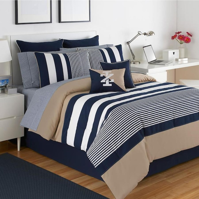 Westpoint Home Izod Classic Stripe Bedding 3 Piece Blue King Comforter Set In The Bedding Sets Department At Lowes Com