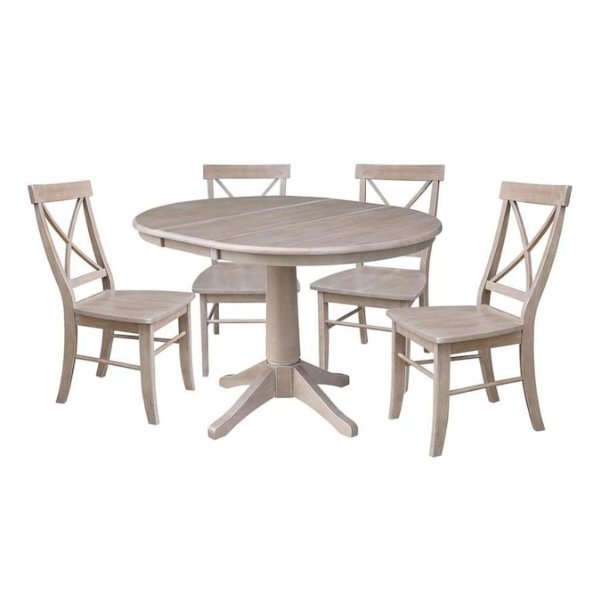 International Concepts 36 In Round Extension Dining Table With Four Chairs Washed Gray Taupe In The Dining Room Sets Department At Lowes Com
