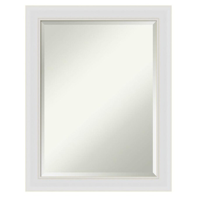 Amanti Art Flair Soft White Frame Collection 22 In Satin Natural White Rectangular Bathroom Mirror In The Bathroom Mirrors Department At Lowes Com