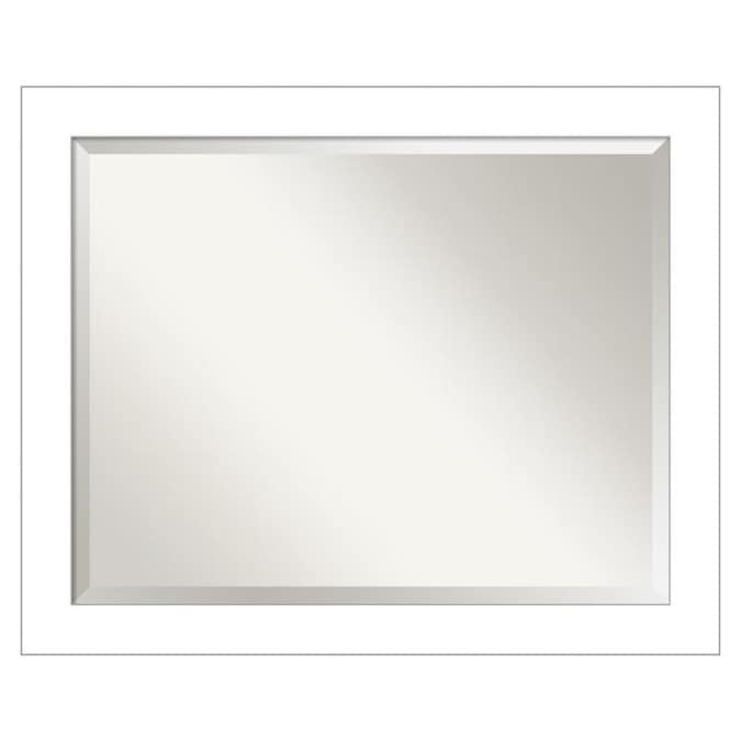 Amanti Art Wedge White Frame Collection 32 25 In Satin White Rectangular Bathroom Mirror In The Bathroom Mirrors Department At Lowes Com