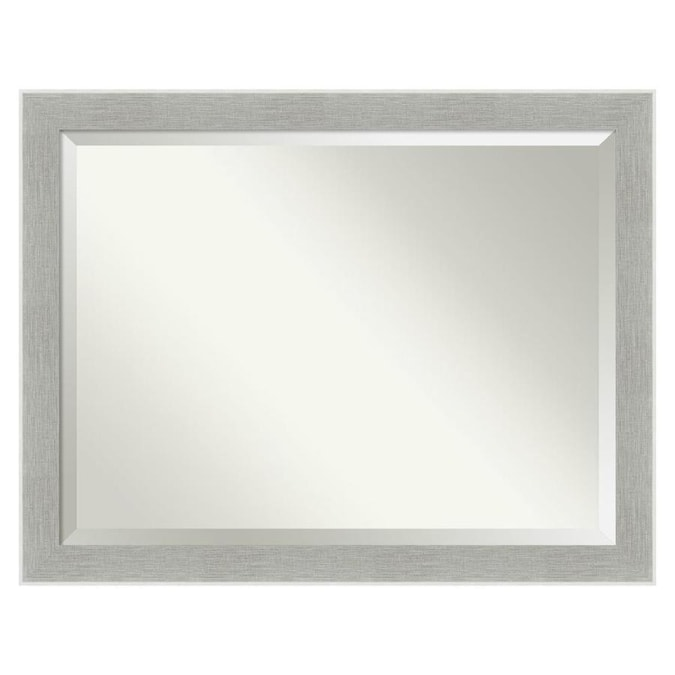 Amanti Art Glam Linen Grey Frame Collection 45 25 In Distressed Grey Silver Rectangular Bathroom Mirror In The Bathroom Mirrors Department At Lowes Com