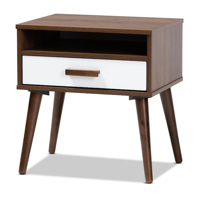 Baxton Studio Quinn Walnut White Wood End Table In The End Tables Department At Lowes Com