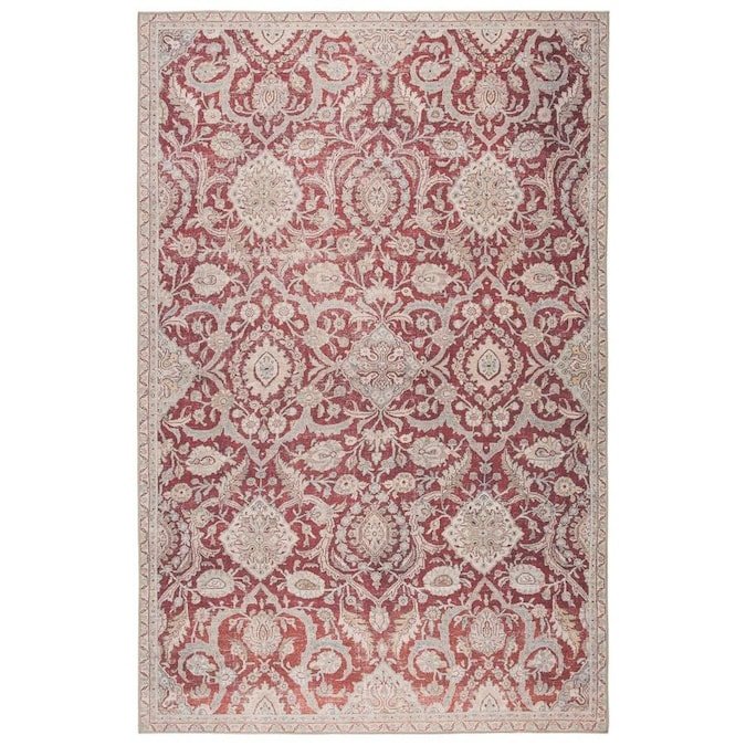 Chatra 8 X 10 Red Gray Indoor Outdoor Medallion Vintage Area Rug In The Rugs Department At Lowes Com
