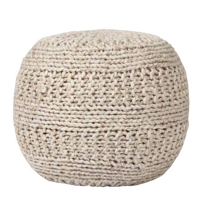 Aanny Designs Winston Modern Natural Wool Pouf Ottoman In The Indoor Ottomans Department At Lowes Com