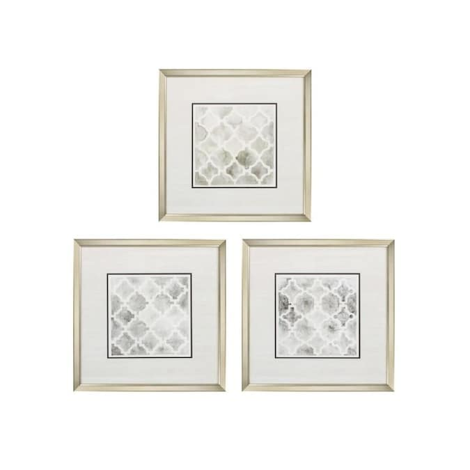 Homeroots 22 In X 22 In Champagne Gold Color Frame Neutral Impressions Set Of 3 In The Wall Art Department At Lowes Com