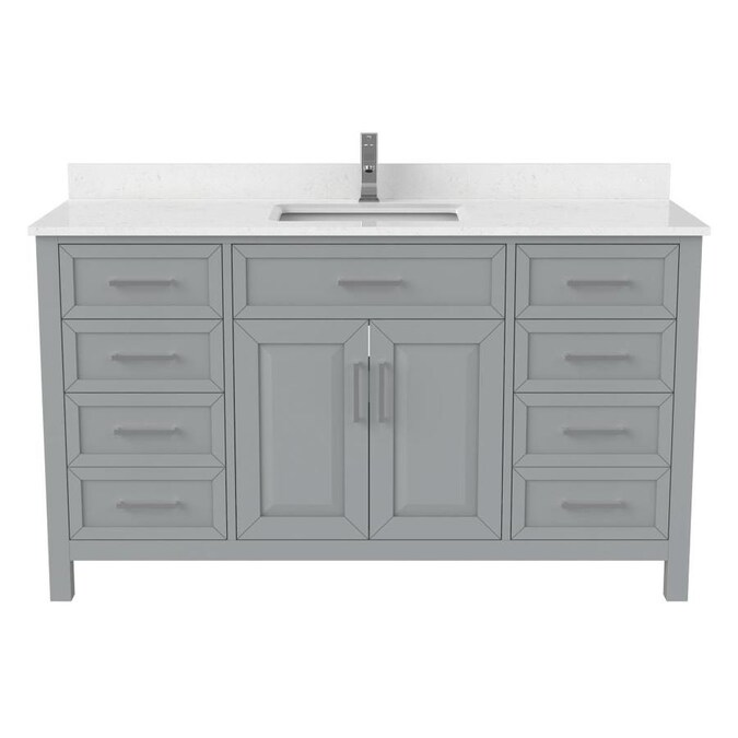 Spa Bathe Thomas 60 In Oxford Gray Undermount Single Sink Bathroom Vanity With White With Gray Veins Engineered Stone Top In The Bathroom Vanities With Tops Department At Lowes Com