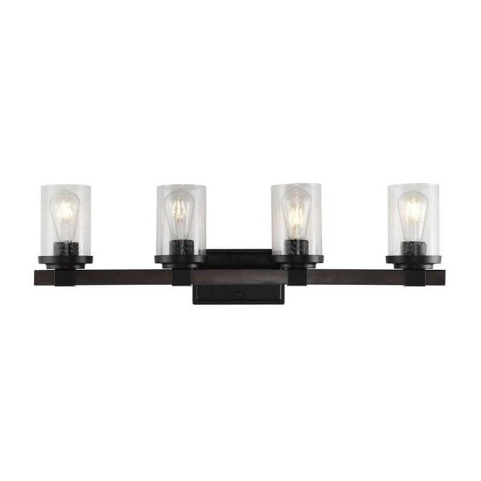 Jonathan Y Industrial 4 Light Black Rustic Vanity Light In The Vanity Lights Department At Lowes Com