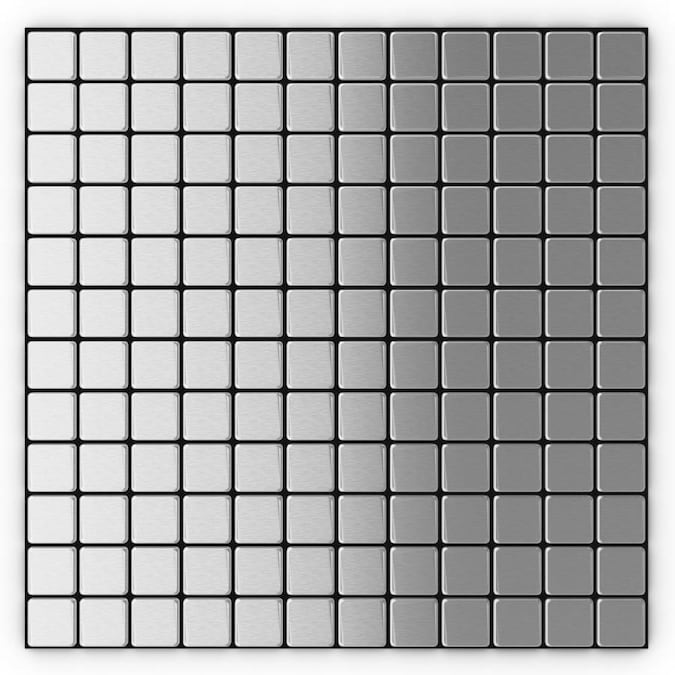 Speedtiles Inoxia Silver Stainless Steel 4 In X 4 In Brushed Metal Mosaic Wall Tile Sample In The Tile Samples Department At Lowes Com