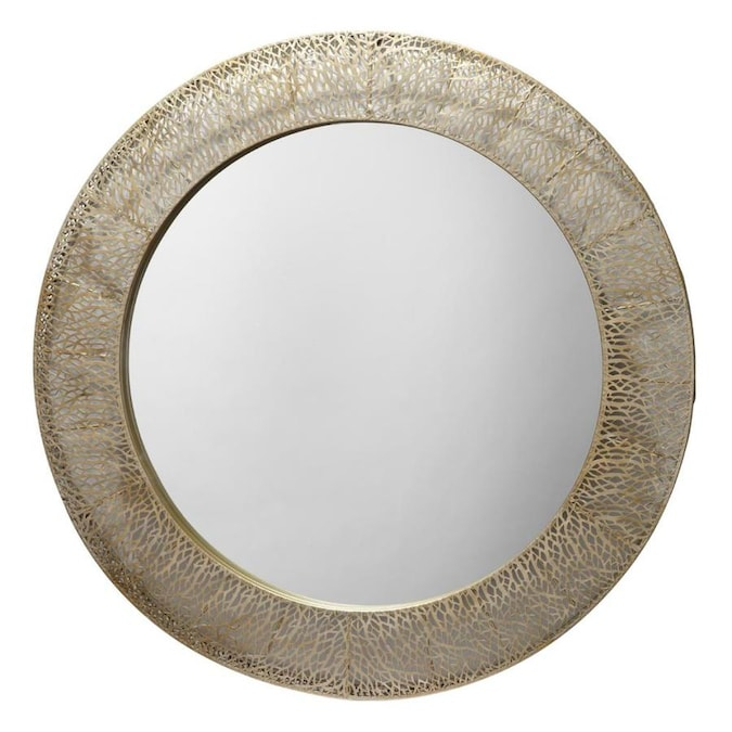 40 In L X 40 In W Round Champagne Framed Wall Mirror In The Mirrors Department At Lowes Com