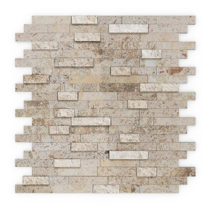 Speedtiles Sandy Peel And Stick 6 Pack Mixted Tan 12 In X 12 In Multi Finish Natural Stone Marble Travertine Linear Peel And Stick Wall Tile In The Tile Department At Lowes Com
