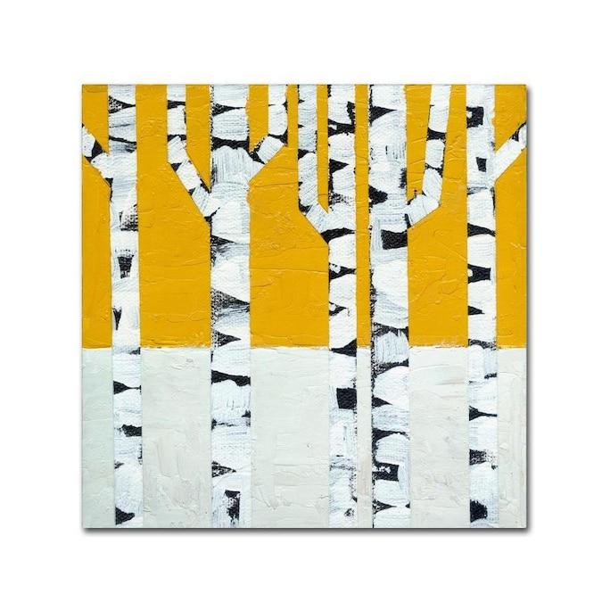Trademark Fine Art Michelle Calkins Seasonal Birches Winter 14x14 Canvas Art In The Wall Art Department At Lowes Com