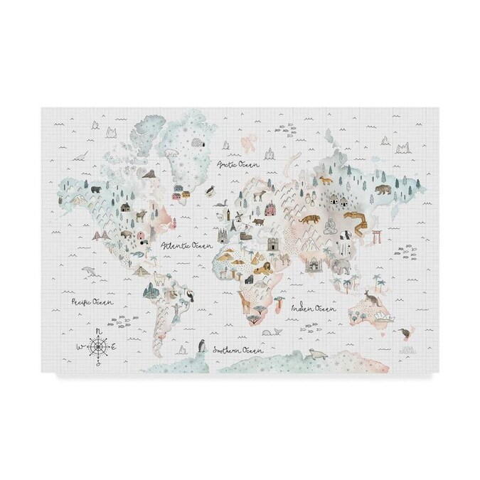 Trademark Fine Art Laura Marshall World Traveler I 12x19 Canvas Art In The Wall Art Department At Lowes Com