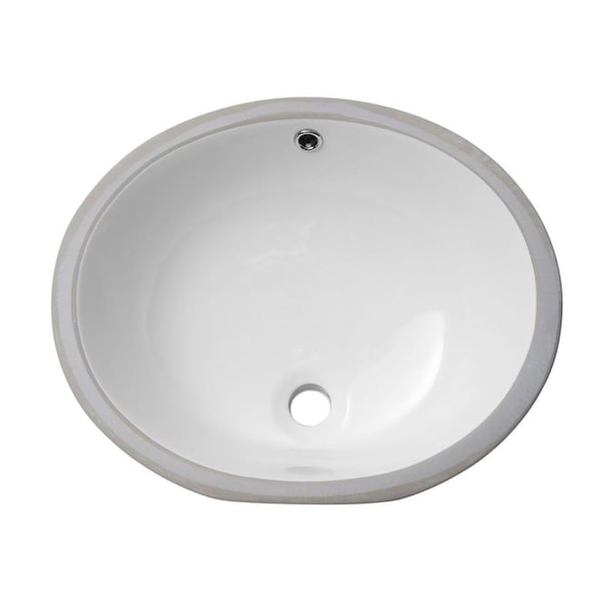 Matrix Decor White Porcelain Undermount Oval Bathroom Sink With Overflow Drain 19 In X 16 In In The Bathroom Sinks Department At Lowes Com