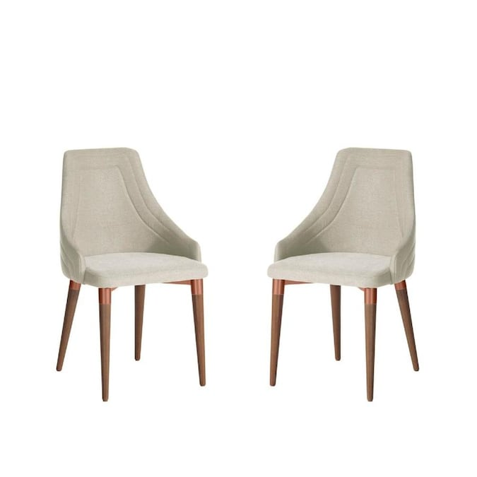 Manhattan Comfort Set Of 2 Utopia Contemporary Modern Linen Upholstered Dining Arm Chair Composite Frame In The Dining Chairs Department At Lowes Com