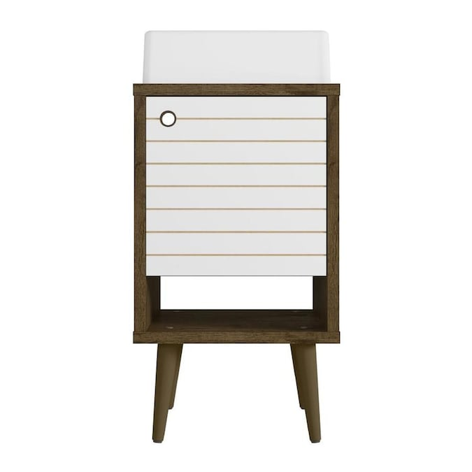 Manhattan Comfort Liberty 18 In Rustic Brown And White Single Sink Bathroom Vanity With White Wood Top In The Bathroom Vanities With Tops Department At Lowes Com