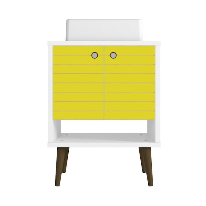 Manhattan Comfort Liberty 24 In White And Yellow Single Sink Bathroom Vanity With White Wood Top In The Bathroom Vanities With Tops Department At Lowes Com