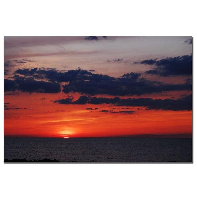 Trademark Fine Art Kurt Shaffer Great Lake Sunset 16x24 Canvas Art In The Wall Art Department At Lowes Com