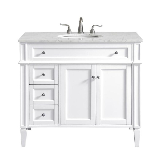 Elegant Decor First Impressions 40 In White Undermount Single Sink Bathroom Vanity With Carrara White Marble Top In The Bathroom Vanities With Tops Department At Lowes Com