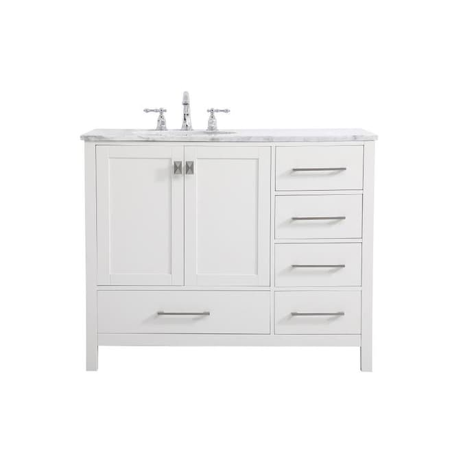 Elegant Decor First Impressions 42 In White Undermount Single Sink Bathroom Vanity With Carrara White Marble Top In The Bathroom Vanities With Tops Department At Lowes Com
