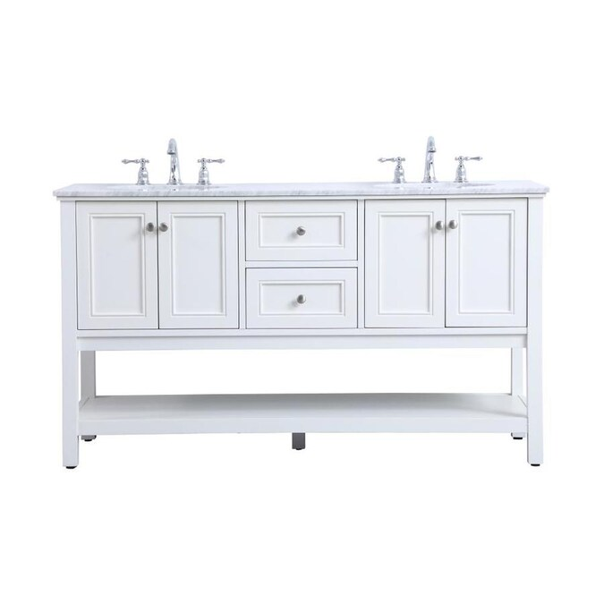 Elegant Decor First Impressions 60 In White Undermount Double Sink Bathroom Vanity With Carrara White Marble Top In The Bathroom Vanities With Tops Department At Lowes Com