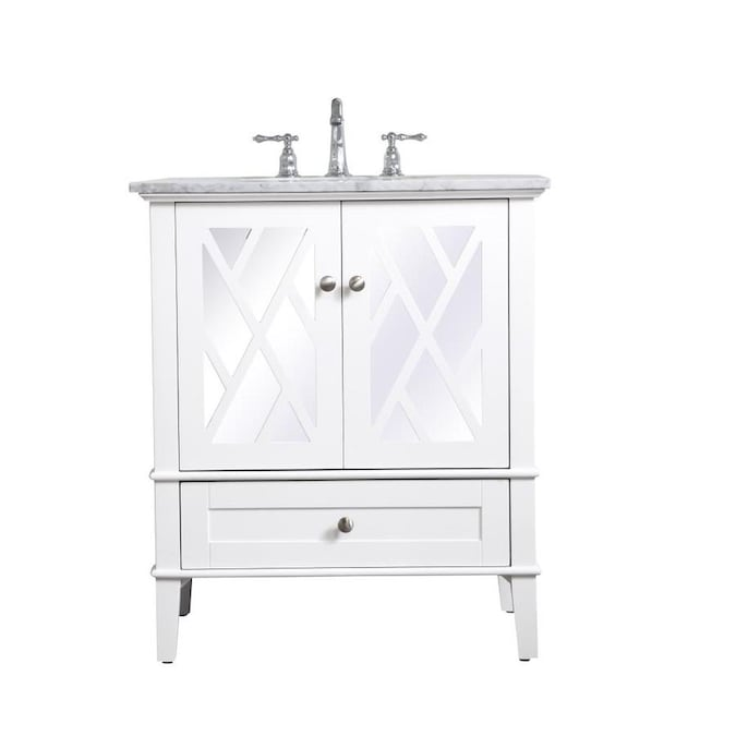 Elegant Decor First Impressions 30 In White Undermount Single Sink Bathroom Vanity With Carrara White Marble Top In The Bathroom Vanities With Tops Department At Lowes Com