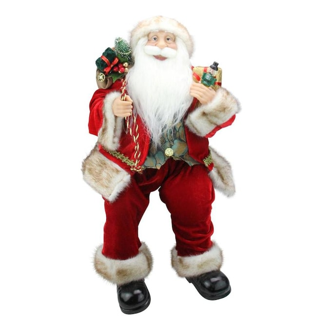 Northlight 24 In Chic Sitting Santa Claus Christmas Figure With Gift Bag And Presents In The Novelty Christmas Decorations Department At Lowes Com