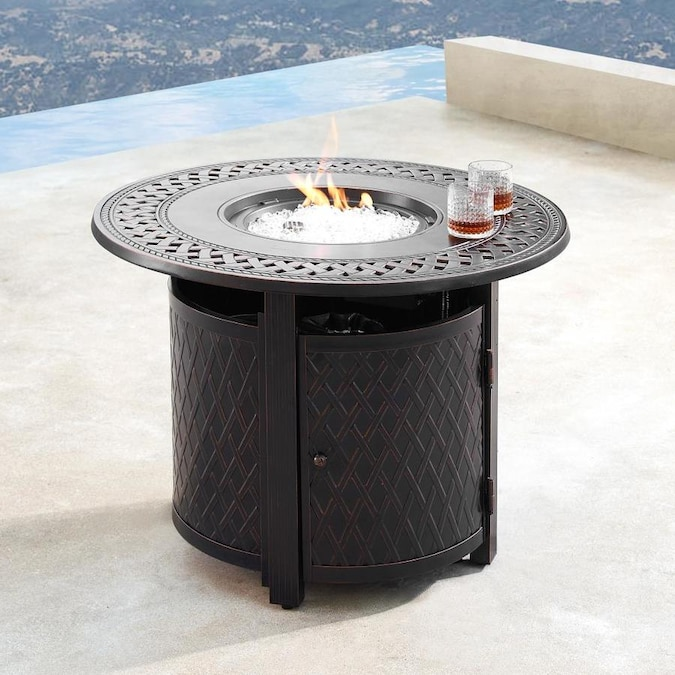 Oakland Living Propane Fire Table 34 In W 25000 Btu Copper Portable Tabletop Aluminum Propane Gas Fire Table In The Gas Fire Pits Department At Lowes Com