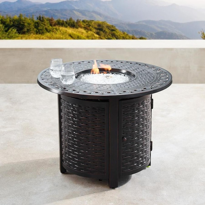 Oakland Living Propane Fire Table 34 In W 55000 Btu Black Portable Tabletop Aluminum Propane Gas Fire Table In The Gas Fire Pits Department At Lowes Com