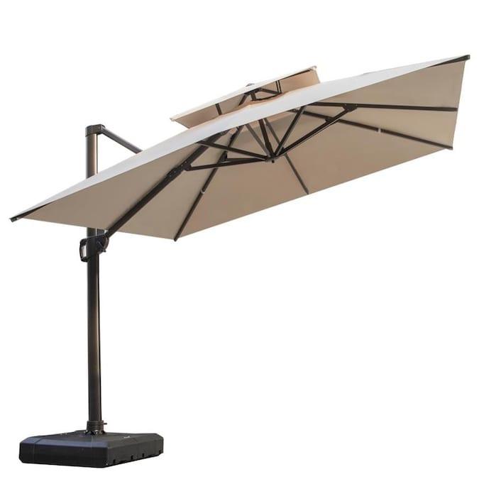 Crestlive S 10 Ft Tan Slide Tilt, 10 Ft Cantilever Patio Umbrella
