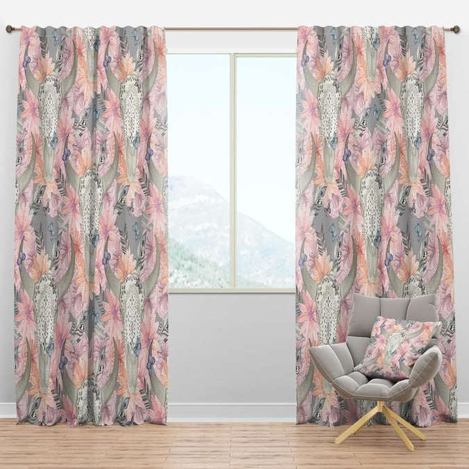 Designart Designart Skull Bull In Flowers Bohemian And Eclectic Curtain Panel In The Curtains Drapes Department At Lowes Com