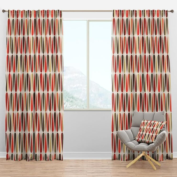 Designart 84 In Multi Color Polyester Room Darkening Thermal Lined Rod Pocket Single Curtain Panel In The Curtains Drapes Department At Lowes Com