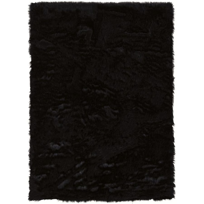 Linon Faux 5 X 7 Black Indoor Solid Area Rug In The Rugs Department At Lowes Com