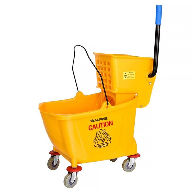 Alpine Industries 36 Qt Yellow Pvc Mop Bucket With Side Wringer In The Mop Wringer Buckets Department At Lowes Com