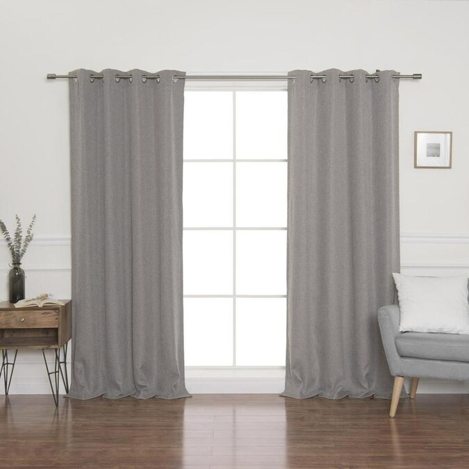 Best Home Fashion 96 In Grey Polyester Blackout Curtain Panel Pair In The Curtains Drapes Department At Lowes Com