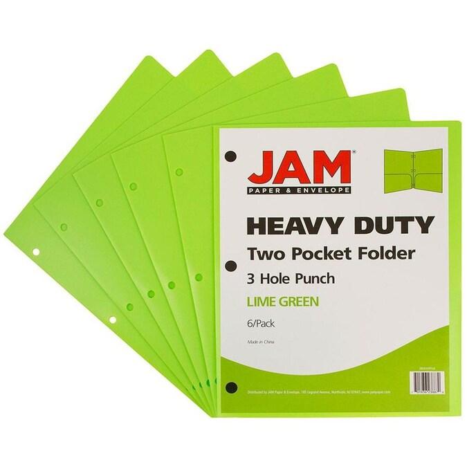 6//Pack JAM PAPER Heavy Duty Plastic 2 Pocket School Folders Lime Green