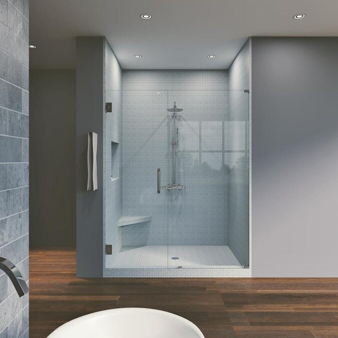 Symphony Shower Doors 76 In H X 57 75 In W Frameless Hinged Black Shower Door Clear Glass In The Shower Doors Department At Lowes Com