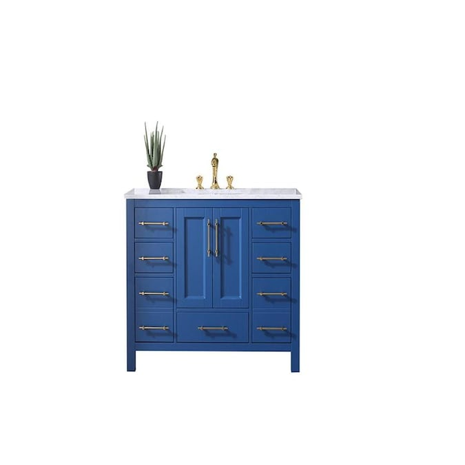 Eviva Navy 48 In Blue Undermount Single Sink Bathroom Vanity With White Marble Top In The Bathroom Vanities With Tops Department At Lowes Com