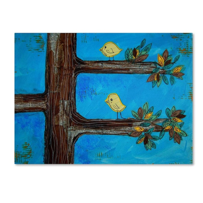 Trademark Fine Art Nicole Dietz Birds In A Tree Mixed Media 18x24 Canvas Art In The Wall Art Department At Lowes Com
