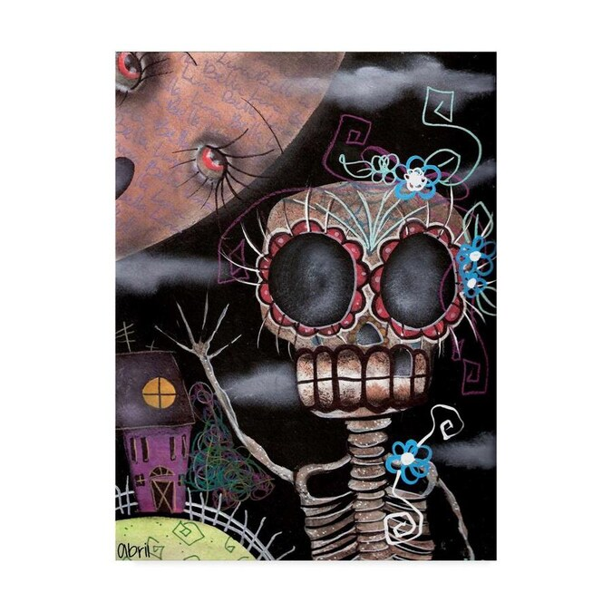 Trademark Fine Art Abril Andrade Hi Skeleton 18x24 Canvas Art In The Wall Art Department At Lowes Com