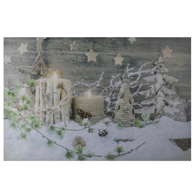Northlight Country Rustic Winter Christmas Led Lighted Canvas Wall Art 23 5 In X 15 5 In In The Christmas Wall Art Department At Lowes Com