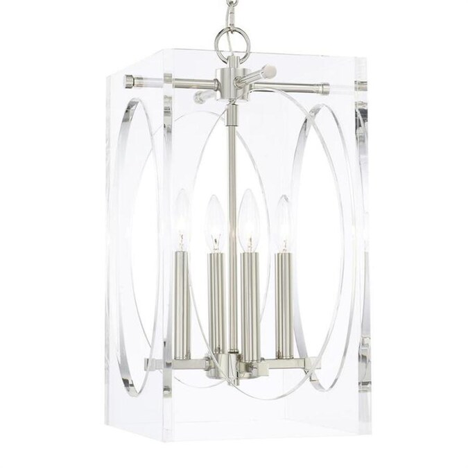 Crystorama Drake 4 Light Polished Nickel Modern Contemporary Chandelier In The Chandeliers Department At Lowes Com