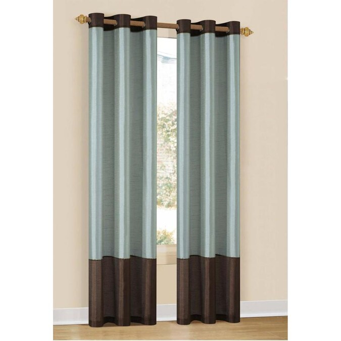 Duck River Textile 84 In Blue Chocolate Polyester Blackout Thermal Lined Grommet Curtain Panel Pair In The Curtains Drapes Department At Lowes Com