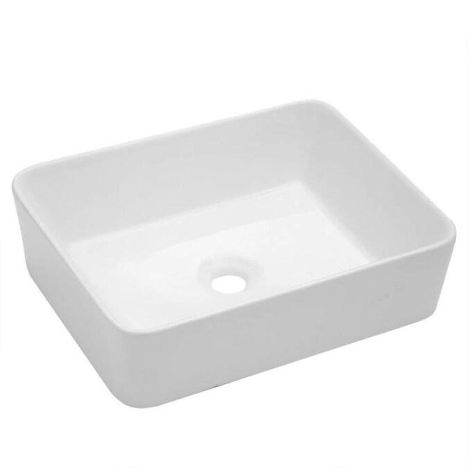 Lordear Porcelain Vanity Sink White Ceramic Vessel Rectangular Bathroom Sink 16 In X 12 In In The Bathroom Sinks Department At Lowes Com