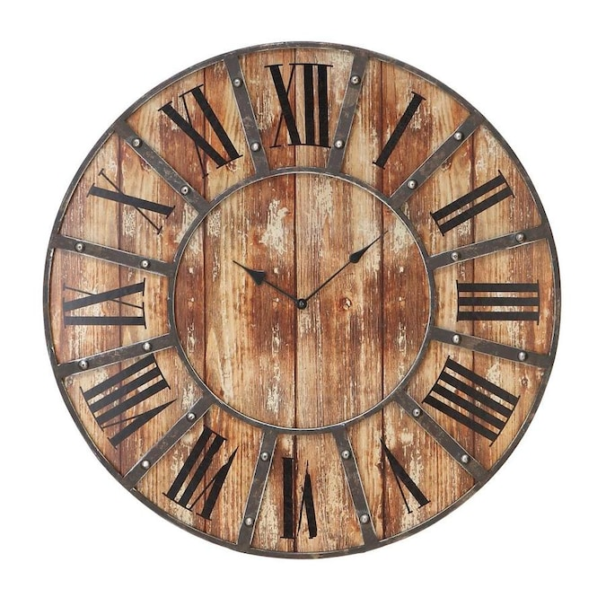 Grayson Lane Large Metal And Wood Round Wall Clock With Roman Numerals 24 X 24 In The Clocks Department At Lowes Com