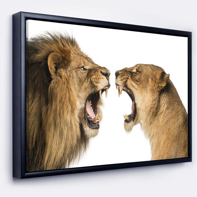 Designart Lion And Lioness Roaring Abstract Framed Canvas Art Print In The Wall Art Department At Lowes Com